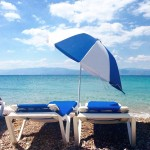 Beach Day  spetses beach umbrella greece med blue roadtrip